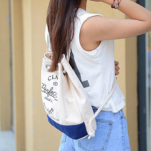 BYD - Female Unisex secchiello Bag Rope Strap Shopping Bag Travel Bag Fashion Bag Borse Tote Shouder Bag Blu