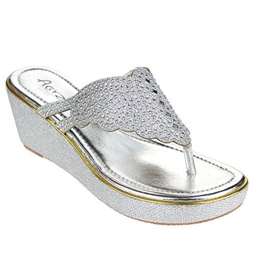 Femmes Dames Diamante Toe Post Glisser sur Talon compensé Soir Décontractée Fête Des sandales Chaussures Taille Argent