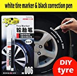 1 x Set aus weißem Reifenmarker und schwarzem Korrekturstift: universal-wasserfeste Permanent-Marker auf Ölbasis für Autoreifen