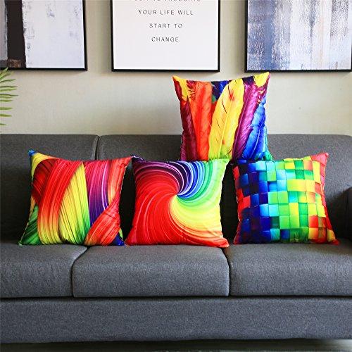 Topfinel Hogar 4 Cojines Geométrico Colorido Decorativa Almohadas Fundas para Sofá Cama Sala de Estar 45X45cm