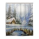 ALAZA Winter-Landschaftsmalerei Weihnachten Duschvorhang 60 x 72 inch, schimmelresistent und Wasserdicht Polyester Dekoration Badezimmer-Vorhang
