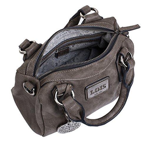 LOIS - 93031 Borsa bowling tracolla regolabile doppie manichi con zip. Pelle sintetica. Tasca interiore. Tasca detroit con zip. Portachiavi., Color Tortora Brown