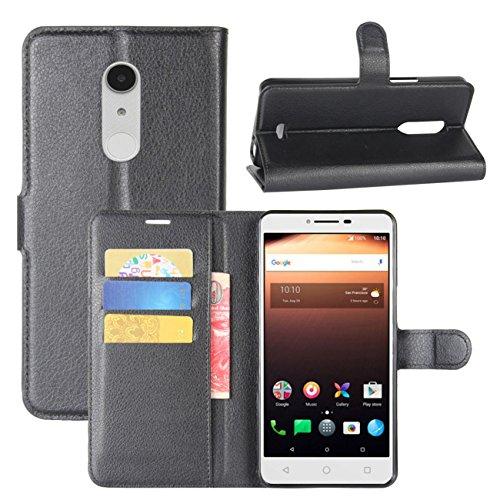 HualuBro Alcatel A3 XL Hülle, Premium PU Leder Leather Wallet HandyHülle Tasche Schutzhülle Flip Case Cover mit Karten Slot für Alcatel A3 XL Smartphone (Schwarz)