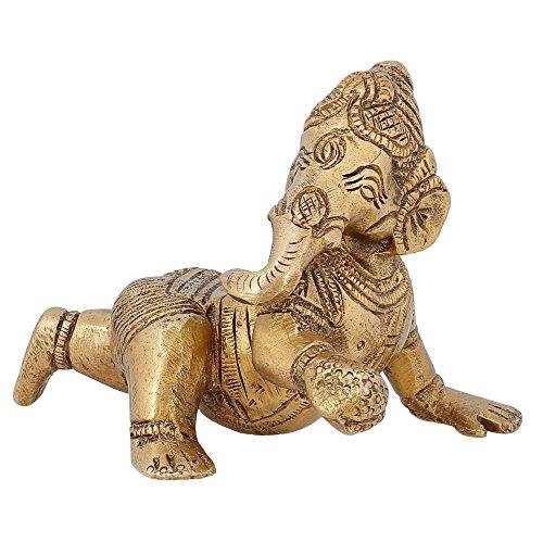 Articoli da regalo Decor indiano Bambino strisciante Ganesha religiosa femminile Miniature Brass 3 pollici - religiosi Articoli