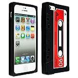 CUSTODIA IN SILICONE Fantasia cassette per Apple iPhone 5 / 5S in Rosso + pellicola protettiva - Design stiloso e protezione ottimale firmati kwmobile