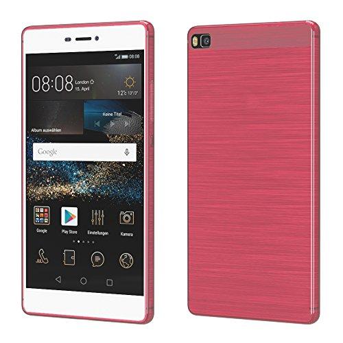 Brushed Cover für Huawei P8 Schutz Hülle TPU Case Schutzhülle Silikon Cover Tasche in Rosa