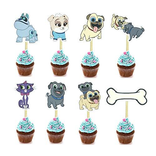 KRUCE 24 Piezas Cachorros Perros Amigos Cupcake Topper para niños Fiesta de...