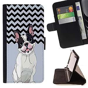 - FRENCH BULLDOG Chevron - - Premium-PU-Leder-Mappen-Kasten mit Kartensteckpl?tze, Geldfach und abnehmbarem Trageriemen FOR Sony Xperia m55w Z3 Compact Mini King case