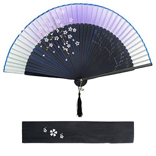 Dazone Asiatischer fächer Handfächer Faltbar aus Bambus Japanisch Kirschblüten fächer Faltfächer Hochzeit Party Deko Muttertag Geschenk - Violett