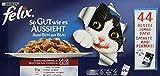 Felix So gut wie es aussieht Katzenfutter Fleischauswahl mit Huhn, Rind, Kaninchen, Lamm, 44 Beutel (44 x 100 g)