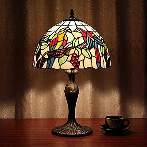 Carl Artbay 12-Inch Vintage Pastoral Parrot Stained Glass Tiffany Table Lamp Bedroom Lamp Bedside Lamp