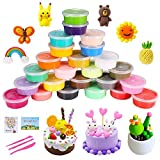 QMAY 24 Colors Air Dry Clay, Magic Clay Polymer Clay Non Toxic Modelling Clay, Creative Art DIY Crafts, Gift for Kids(Modeling Dough with Project Booklet)