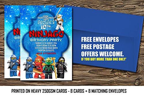 LEGO Ninjago personalisierbar Geburtstag Party Einladungen Lego NINJAGO, Lego NINJAGO Party invites8