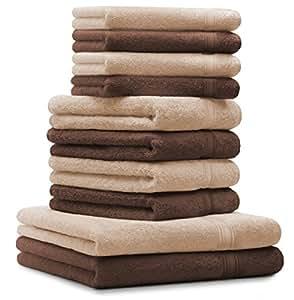 10 tlg. Luxus Handtuch Set GOLD Farbe: Beige & Nuss Braun Qualität 600 g/m² 100% Baumwolle 2 Duschtücher 70 x 140 cm, 4 Handtücher 50 x 100 cm 4 Seiftücher 30 x 30 cm