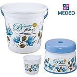 """Meded Siti Plast Bathroom Set Bucket 22 Liters, Mug 1.5 Liters, Stool 9"""" White & Blue"""