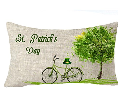 Doormat-bag Happy St. Patrick day green Big tree Leaf bicycle hat Throw Pillow Cover Cushion Case Cotton Linen Material Decorative 20x30 - Green Hat Day