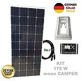 VIASOLAR Kit 175W Camper 12V Panel Solar monocristalino células alemanas