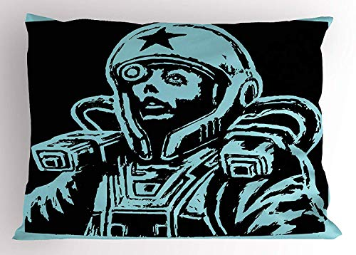 Rghkjlp Astronaut Kissen Sham, Female Astronaut Space Woman Science Fiction Theme Hand Made Drawing Space Galaxy, Decorative Standard King Size Printed Kissencase, 20 X 30 Inches, Teal Black - King-size-polyester-kissen-sham