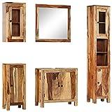 vidaXL Sheesham-Holz Massiv Badmöbel Set 5-TLG. Badezimmermöbel Badezimmer...