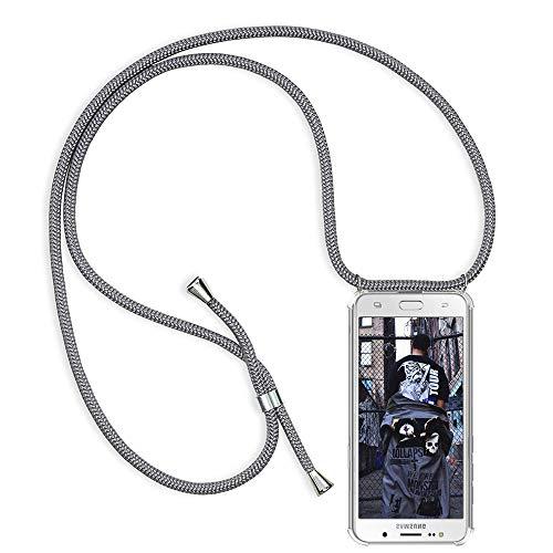 TUUT Handykette kompatibel mit Samsung Galaxy J5 2016 / J510 Handy-Kette Handy Hülle mit Kordel zum Umhängen Handyanhänger Halsband Lanyard Case/Handy Band Necklace [Stoßfest] - Grau
