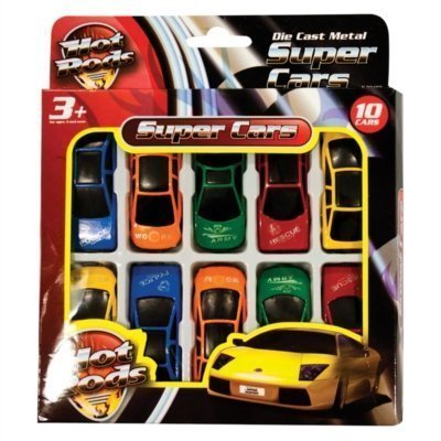 10 x Children's Kids Die Cast Metal Hot Rods Toy Super Cars Various Styles