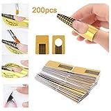 Nagel-Schablonen 1 Packung (200 Stück) selbstklebende Square Goldschablonen Modellier-Schablone selbstklebend für Gel-Nägel & Nagel-Verlängerung Golden Schablonen