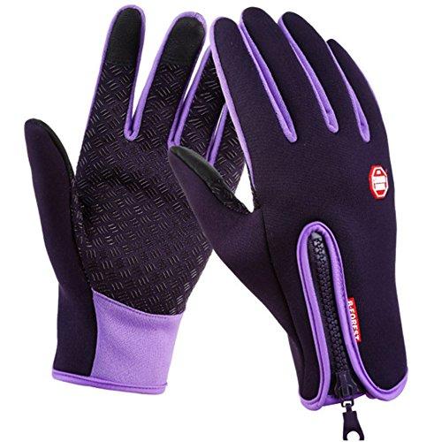 SwampLand Anti-Rutsch Full Finger Fahrradhandschuhe Winddicht Wasserabweisend Touchscreen Handschuhe für Damen und Herren,Lila S