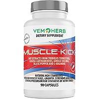 MUSCLE KICK - Natürliche Anabolika - HGH Wachstumshormon Stimulant - beta Ecdysteron + Furostanol Saponin Steroide + L-Arginin & Ginkgo biloba - 90 Kapseln - Pflanzliche Steroide Komplex - Muskelaufbau, Regeneration & Libido