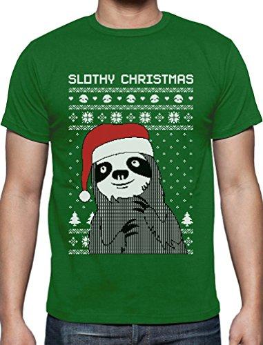 Slothy Christmas Faultier mit Nikolausmütze Weihnachtsshirt T-Shirt Grün