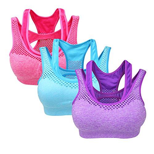 Yolev Damen Sport BHs ohne Bügel Doppellagiger Fitness Sport Bra ein Pack von 3, mehre Farbe (l, lila/blau/rosa)