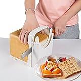 Affettatrice per pane, per tagliare pane da toast e fare sandwich, con guida per il taglio, in ABS bianco, materiale ecologico