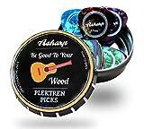 Asharp 16 Plektren für Gitarre in schöner Geschenk Box - Gitarren Plektrum aus robustem Celluloid - In 4 Stärken: 0.46-1.20mm