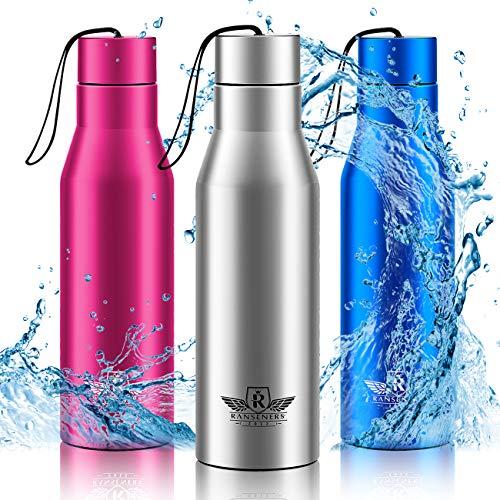 RANSENERS Premium Edelstahl Thermo Trinkflasche mit Flaschenhülle, Sport Trinkbecher, 500, 750ml, Doppelwandige Isolierflasche, Auslaufsicher, Einfach zu säubern