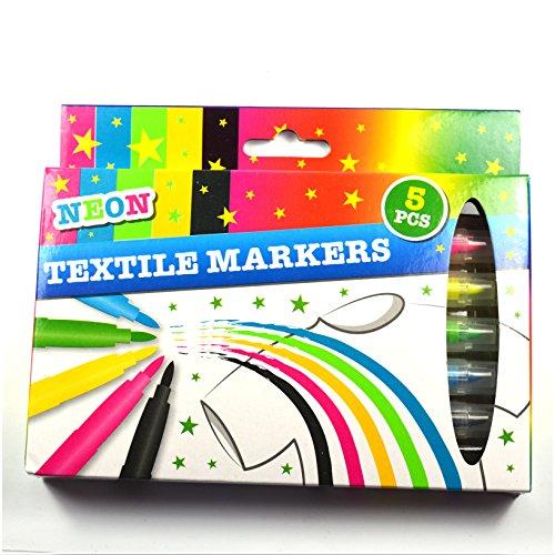 NEON 5 Marker für Textile, Filzstifte, für Kleidung, 5 Stück, Blau, Grün, Gelb, Rosa, Schwarz