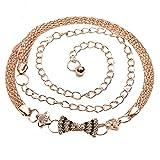 SO-buts Frauen Gürtel,Mode Metallkette Gürtel,Luxuriöser Gürtelschnallengürtel aus Leder, 110 cm,Körperkette YD0366 Diamanten beugt Taille Kette (Gold)