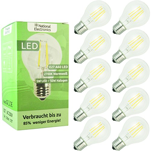 National Electronics Bombilla LED Filamento blanco cálido