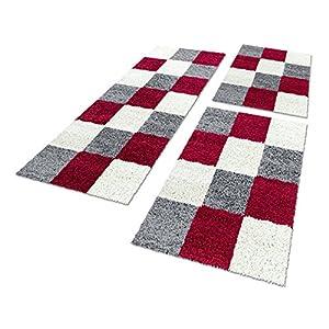 Shaggy Hochflor Teppich Carpet 3TLG Bettumrandung Läufer Set Schlafzimmer Flur, Farbe:Rot, Bettset:2x60x110+1x80x250