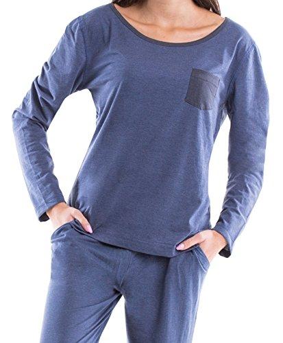 Moonline trendiger Damen-Pyjama Schlafanzug Hausanzug mit Langarmtop und gemütlicher Hose mit Bündchen Jeans