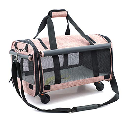JHDUID PET Trolley Case Large Folding Pets Carrier Travel Backpack, Mute Wheel Cat Dog Portable Suitcase, Travel Goods Gear,lightpink