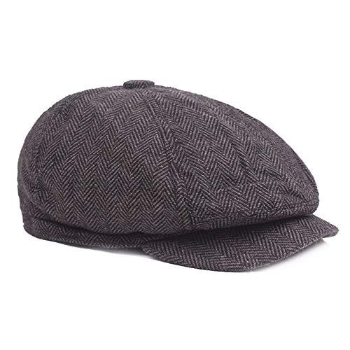 Männer Frauen Herbst Vintage Woolen Zeitungsjunge Kappe Maler Hut Cabbie Hut Gatsby Beret Stern Retro-Fahren Hut,D