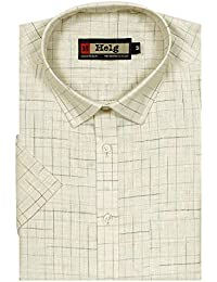 Helg Mens Formal Linen Checks Half Sleeves Comfort Fit Shirt