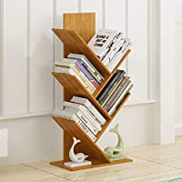 SED Home Storage Rack Bookshelf Split-Level Design Bamboo Floor Bookrack Tree-Shape Bookcase Commodity Shelf, Sorting Stands Space Save Shelf,40 x 21 x 67cm