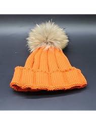 Wenxin0815 Hat Gorro De Punto Otoño Invierno Amplio Borde Tricotado Tapa Exterior Engrosada Cálida Gorra Mujer,Naranja