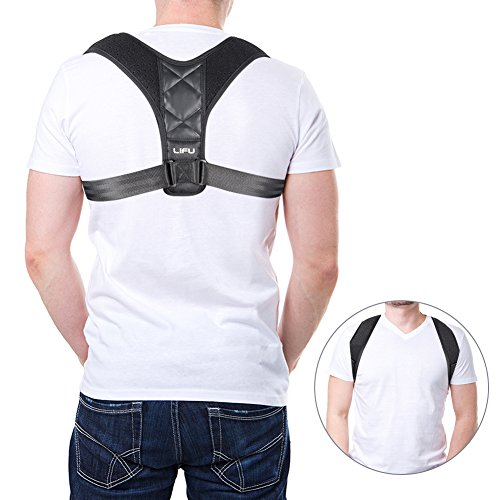 Corrección de Postura, Lifu ajustable postura corrección cifosis torácica Back cintura apoyo hombro alivio del dolor de espalda hombro y cuello para mujeres o hombres o niños–29–34,6cm (pecho)
