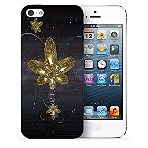 Snoogg Golden Flower Printed Protective Phone Back Case Cover For Apple Iphone 5 / 5S