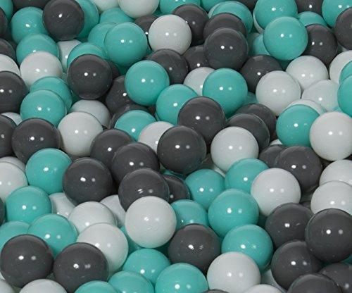 Velinda 150 Bälle,Bällebad/Bällezelt/Kinderpool Plastikbälle Spielbälle Kinderbälle O7cm (Farbe der Bälle: Weiß, Grau, Türkis)