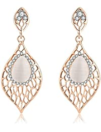 Jewels Galaxy Exclusive Luxuria Edition Delicate Design AD & Opal Marvelous 18K Rose Gold Plated Drop Earrings...