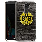 LG K10 LTE Hülle Silikon Case Schutz Cover Borussia Dortmund BVB Holzoptik