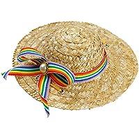 SODIAL Mini Sombrero de Perros Mascota Sombrero para el Sol Sombreros de  Paja de Fiesta de 04f44f5a669