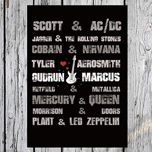 TinyTami ★ Kunstdruck Hochzeitsgeschenk ★ Rockbands ★ Individuell ★ A4 oder A3 ★ Fineart Print ★ Poster ★ Bild ★ Freundschaft ★ Metal Rock ★ Freunde ★100% handmade -